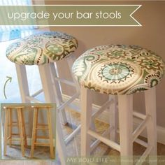 Upholstered Stool Tutorial {Ottoman and Stools}Do you have some plain wood bar stools that could use an upgrade? This post has a great remedy for those boring stools!  You'll learn how to paint them as well as upholster the top for not only a more stylish looking stool, but also more comfy feel! View This Tutorial