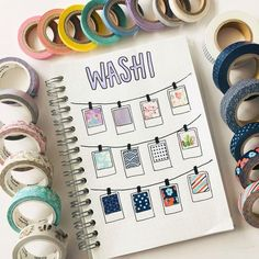 Washi tape ideas for bullet journal you don't want to miss! Find out different ways on how to use washi tape to create pretty (yet still useful) bujo layout Bullet Journal Inspo, Bullet Journal Washi Tape, Bullet Journal Ideas Pages, Bullet Journal Spread, Journal Pages, Bullet Journal Year At A Glance, Bullet Journal Events, Bullet Journal Grocery List, Bullet Journal Legend