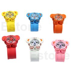 New Boys Girls Cute Animal Tiger Slap Snap Rubber Bracelet Children Wrist Watch in Jewellery & Watches | eBay