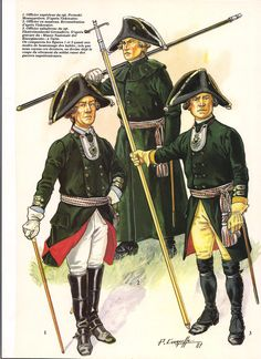 Zurich 1799: Officers: 1.Permski Musketeer Superior Officer, 2. Officer in Overcoat, 3. Ekaterinoslavski Grenadier Sub Altern Officer