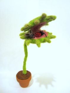 Felted flower Venus Fly trap with a fly and ladybug by nodsu,