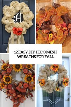 12 Easy DIY Deco Mesh Wreaths For Fall - Shelterness