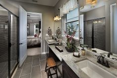 Modern Master Bathroom - COLOR AND COORDINATION WITH THE BEDROOM.  PAINT=THUNDER GRAY SW 7645 BLACK FOX 7020