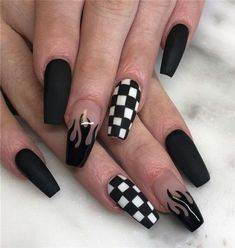 Grunge Nails, Edgy Nails, Classy Nails, Stylish Nails, Simple Nails, Swag Nails, Edgy Nail Art, Cool Nail Art, Black Acrylic Nails