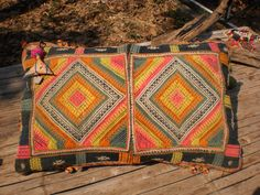 Black Hmong Vintage Textile Cushion Cover by KulshiMumkin on Etsy, $26.00