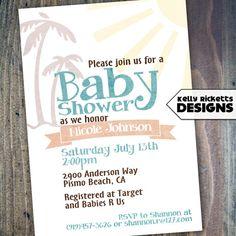 retro beach baby surfing shower invitation digital printable file