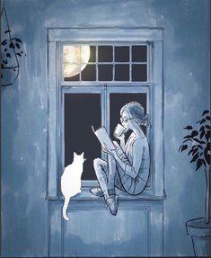 58 ideas for cats art illustration reading Art And Illustration, Reading Art, Girl Reading, Reading Time, Reading Books, Inspiration Art, Cat Drawing, Drawing Rain, I Love Books