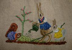 1920's-Embroidered rabbit scene