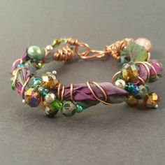 Gorgeous recycled sari silk ribbon bracelet with beaded copper wire, glass beaded bracelet with copper and upcycled silk ribbon,
