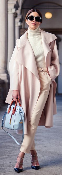 Negin Mirsalehi is wearing blush pink Avelon coat