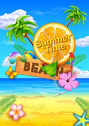 summer beach orange fruit promotional poster background material
