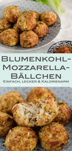 Cauliflower mozzarella balls - a pinch of delicious-Blumenkohl-Mozzarella-Bällc. - Cauliflower mozzarella balls – a pinch of delicious-Blumenkohl-Mozzarella-Bällchen – Eine Pris - Easy Snacks, Healthy Snacks, Easy Meals, Veggie Recipes, Vegetarian Recipes, Healthy Recipes, No Calorie Foods, Low Calorie Recipes, Mozzarella