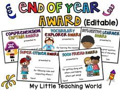 This editable end of year award packet includes 30 certificates to reward your students in the end of year.