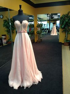 Sherri Hill Prom Dress Style 32180 Flirty chiffon evening gown with a strapless sweetheart neckline and a beaded bodice.