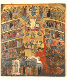 Icon of the Last Judgment Our Lord Jesus Christ who is God's only begotten Son, lived, died, and was risen from the dead for the tota. Byzantine Icons, Byzantine Art, Religious Images, Religious Art, The Last Judgment, Orthodox Christianity, European Paintings, Orthodox Icons, Fresco