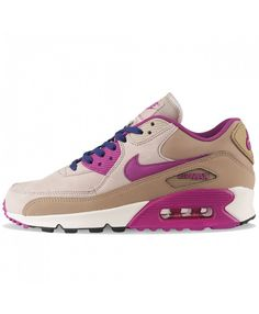 4936e751cdf728 Nike WMNS Air Max 90 LTR Desert Cream   Purple Dusk - Nike The Nike Air Max  90 LTHR Desert Cream and Purple Dusk has leather uppers with plastic panels  and ...