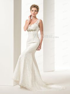 65f182a6fb5b Graceful Mermaid/Trumpet Lace Crystal Straps Court Train Floor-Length  Lace-up Wedding
