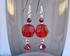 Sterling silver earrings with stunning vintage ruby red beads and Swarovski crystal by CHAjewelry