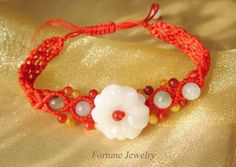 $29.99 Elegant Women White Blossom Flower Carved Jade Bracelet. Hand knotted Red cord multicolored jade Beads - Fortune Feng Shui Fashion Jade Jewelry by Fortune Jewelry & Healing Beauty, http://www.amazon.com/dp/B00DQQLVNK/ref=cm_sw_r_pi_dp_WyV0rb0B42ZC2
