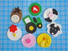 Farm Animal Cupcake Topper Variety, One Dozen for $18.95, via Etsy.
