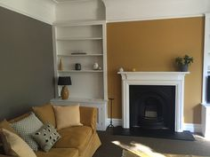 Farrow and Ball - perfect colour combo - Charleston Grey and India Yellow. Very happy with our design and how our lounge looks. All done on a budget (except the paint! Farrow Ball, Farrow And Ball Living Room, Farrow And Ball Kitchen, Yellow Walls Living Room, Living Room Grey, Living Rooms, Victorian Living Room, Snug Room, Discount Bedroom Furniture
