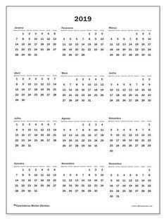 Calendário de  de 2019 (33SD). Calendário para imprimir gratuitamente. Bullet Journal Tracking, Bullet Journal Writing, Printable Planner, Free Printables, Diy Agenda, Planner Book, Calendar 2020, Diy Scrapbook, Clip Art