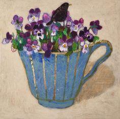 Andrea Letterie, Merel en violen, Gemengde techniek op paneel, 18x18 cm, €.250,-
