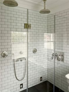 white subway tile, gray grout, double rainfall heads
