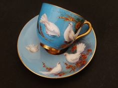 Cup Saucer Royal Worcester Porcelain Antique British by Rushton Gold Paint