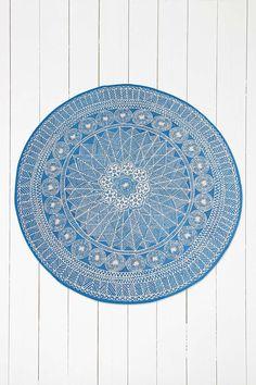 Tapis Florisse rond bleu