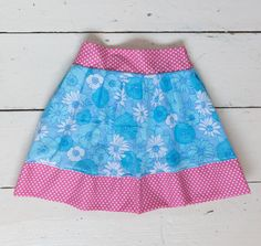 Girls skirt vintage flowers fabric with pink dots by LittleBinks, £15.00