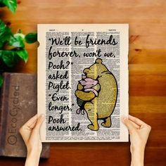 Winnie the Pooh and Piglet Quote 3 Friends Forever on Vintage