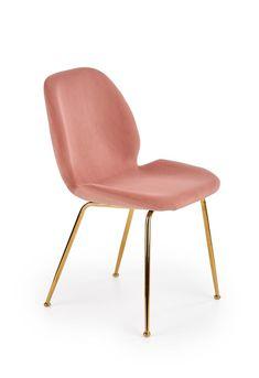 Scaunul K381 este solutia perfecta pentru interioare moderne. Scaunul este tapitat cu un material din catifea rezistent si placut la atingere. Aspectul scaunului va fi apreciat datorita elegantei si a modului practic avut in vedere la constructia lui. Structura solida este realizata din otel cromat auriu elegant, care garanteaza durabilitatea, rezistenta si stabilitatea scaunului. #scaun #tapitat #roz #scaunroz #scauntapitat #pink #velvet #chair #chairdesign #pinkchair Dining Chairs, Velvet, Interior, Furniture, Design, Home Decor, Products, Decoration Home, Indoor