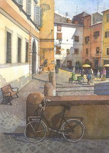 """Bolsena Bikes by Richard Sneary Watercolor ~ 14"""" x 10"""""""