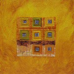 mirjam pet jacobs  textile collage  on painted canvas