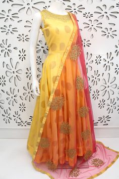 PalkhiFashion Exclusive Light Yellow Full Flair Silk Outfit With Beautiful Duppata.