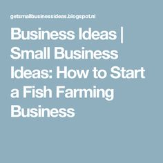 Business Ideas | Small Business Ideas: How to Start a Fish Farming Business