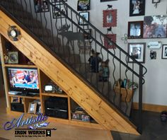 Moose Lovers' Railings - Wrought iron interior stair railings with plasma cut moose, powder coated black