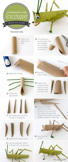 Step-by-step instructions on how to make a cardboard tube grasshopper. This is a… Step-by-step instructions on how to make a cardboard tube grasshopper. This is a fun craft for kids using recyclables. Fun Crafts For Kids, Projects For Kids, Diy For Kids, Diy And Crafts, Arts And Crafts, Recycled Crafts For Kids, Kids Fun, Kids Girls, Cardboard Tubes