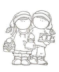 tilda et edwin servant le thé à Noël - Noël