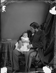 Honourable Charles Tupper (Minister of Inland Revenue) with baby, Ottawa, Ontario, November 1870. #vintage #Victorian #father #baby #Canada