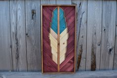Handmade Reclaimed Wood Wall Art Hanging - Classic Geometric Feather Wall Art Piece - Reclaimed Wood Art - Modern Home Decor by RoamingRootsWoodwork on Etsy