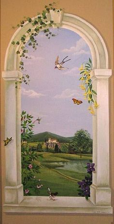 Trompe L'oeil paintings, Murals and Art work Murals Street Art, Ceiling Murals, Mural Wall Art, Faux Painting, Pictures To Paint, Painting Inspiration, Amazing Art, Art Photography, Wallpaper