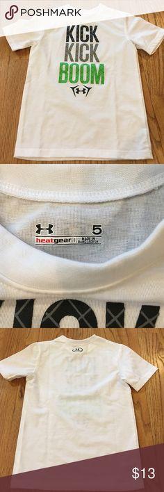 Boys Under Armour size 5 heat gear short sleeve Never worn! Boys size 5 Under Armour heat gear short sleeve shirt. Under Armour Shirts & Tops Tees - Short Sleeve