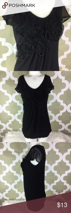 KISCHE Nordstrom Womens Black Ribbon Floral Sheer KISCHE Nordstrom Womens Black Ribbon Floral Sheer Cap Sleeves Blouse Sz S b1 •100% Rayon •Bust 17 Inches •Length 28 Inches Kische Tops Blouses