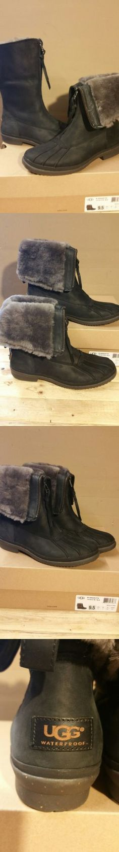 Women Boots: Ugg Australia Arquette Black Leather Waterproof Womens Boots Size 9.5Us BUY IT NOW ONLY: $129.0