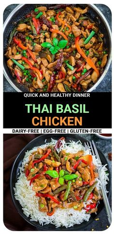 Thai Basil Chicken (Pad Krapow Gai) is loaded with veggies, chicken, and encompasses all the delicate flavors that we all love in Thai food. Comes together in about 30 minutes and better than takeout!