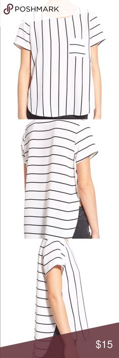 BP side slit high low tee Perfect tee for summer! This black and white stripe is a staple for any closet, and the side slit makes it that much cuter! I would wear a bandeau under since the slits go up to the armpit. bp Tops