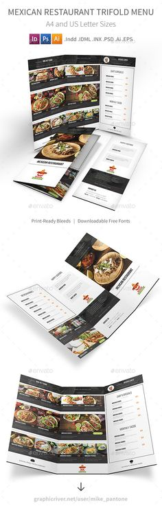 Mexican Restaurant Trifold Menu Template PSD, Vector EPS, InDesign INDD, AI Illustrator