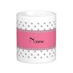 Personalized name white diamonds coffee mug